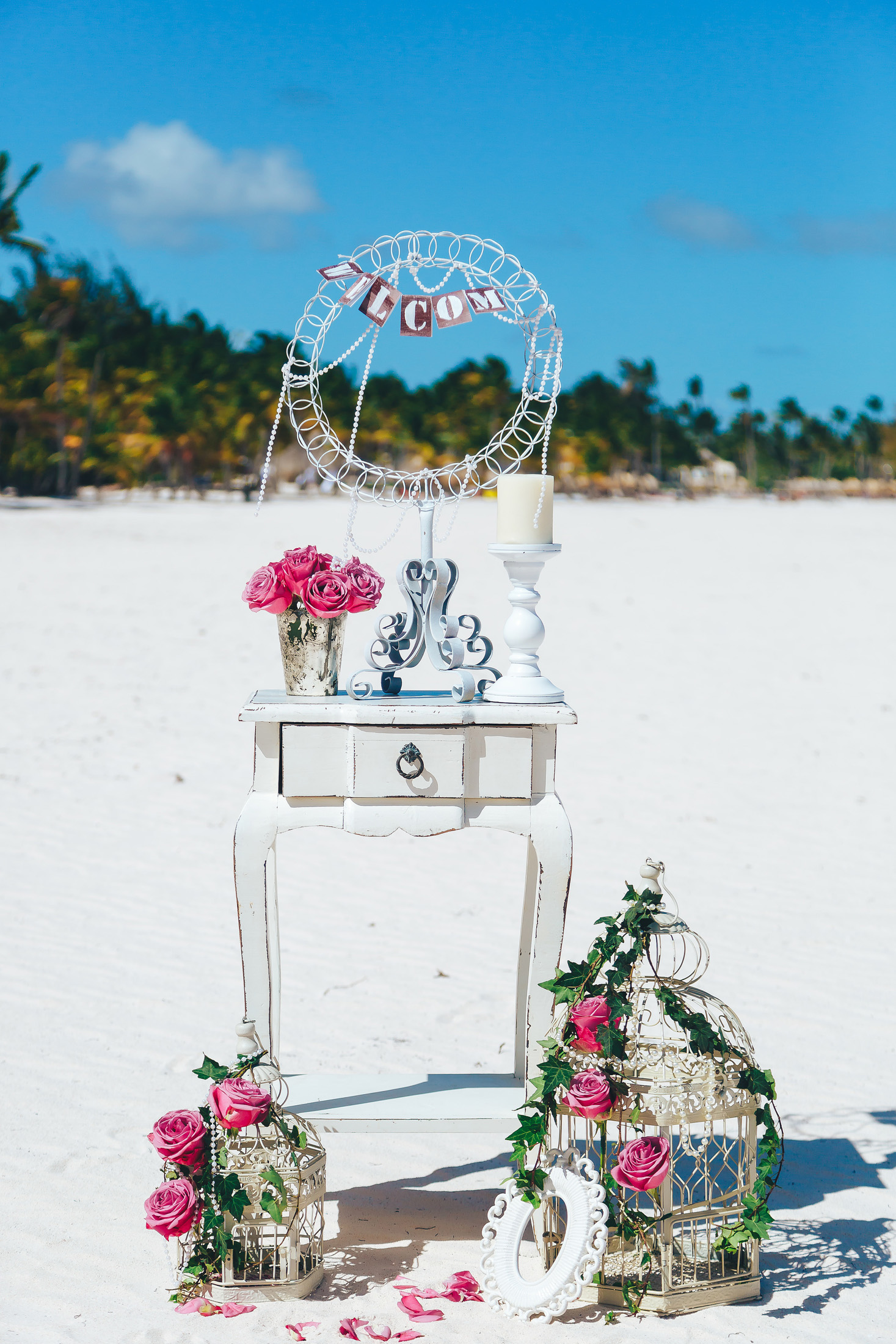 Gentle wedding in vintage style on the Juanillo beach in Cap Cana ...